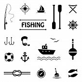 stock photo of fish icon  - vector fish set icons - JPG