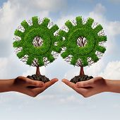 stock photo of partnership  - Team business strategy concept as two hands holding connected trees shaped as a gear or cog as a growing financial partnership united together for corporate growth and teamwork - JPG