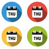 image of thursday  - Set of 4 isolated flat colorful buttons for Thursday  - JPG