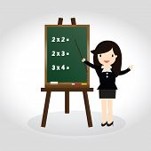 picture of business class  - Teacher standing next to blackboard during a math class and pointing hand - JPG