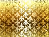image of brocade  - gold brocade background with ornament of Fleur de Lis - JPG