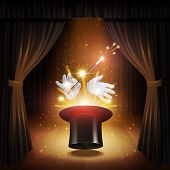 image of cylinder  - Magic trick poster with realistic magician cylinder gloves and stick with curtains on background vector illustration - JPG