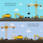 stock photo of construction machine  - Construction background with cranes tractor trucks and industrial machinery vector illustration - JPG
