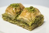 foto of baklava  - Traditional turkish sweets with pistachio  - JPG