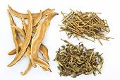 picture of ling  - Piles of Dried Herbs on white background and clipping path - JPG
