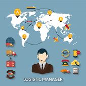 picture of logistics  - Logistic manager infographics set with delivery business workflow and world map vector illustration - JPG