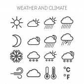 foto of hot-weather  - Set of simple isolated weather and climate icons - JPG