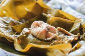 image of gai  - steamed fish curry custard in banana leaf - JPG