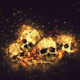 image of skull  - Skulls And Bones as Conceptual Spooky Horror Halloween image - JPG