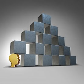 picture of cornerstone  - Essential services and crucial support concept as a head icon supporting a group of blocks in a pyramid formation as a symbol for being the cornerstone for an organization - JPG