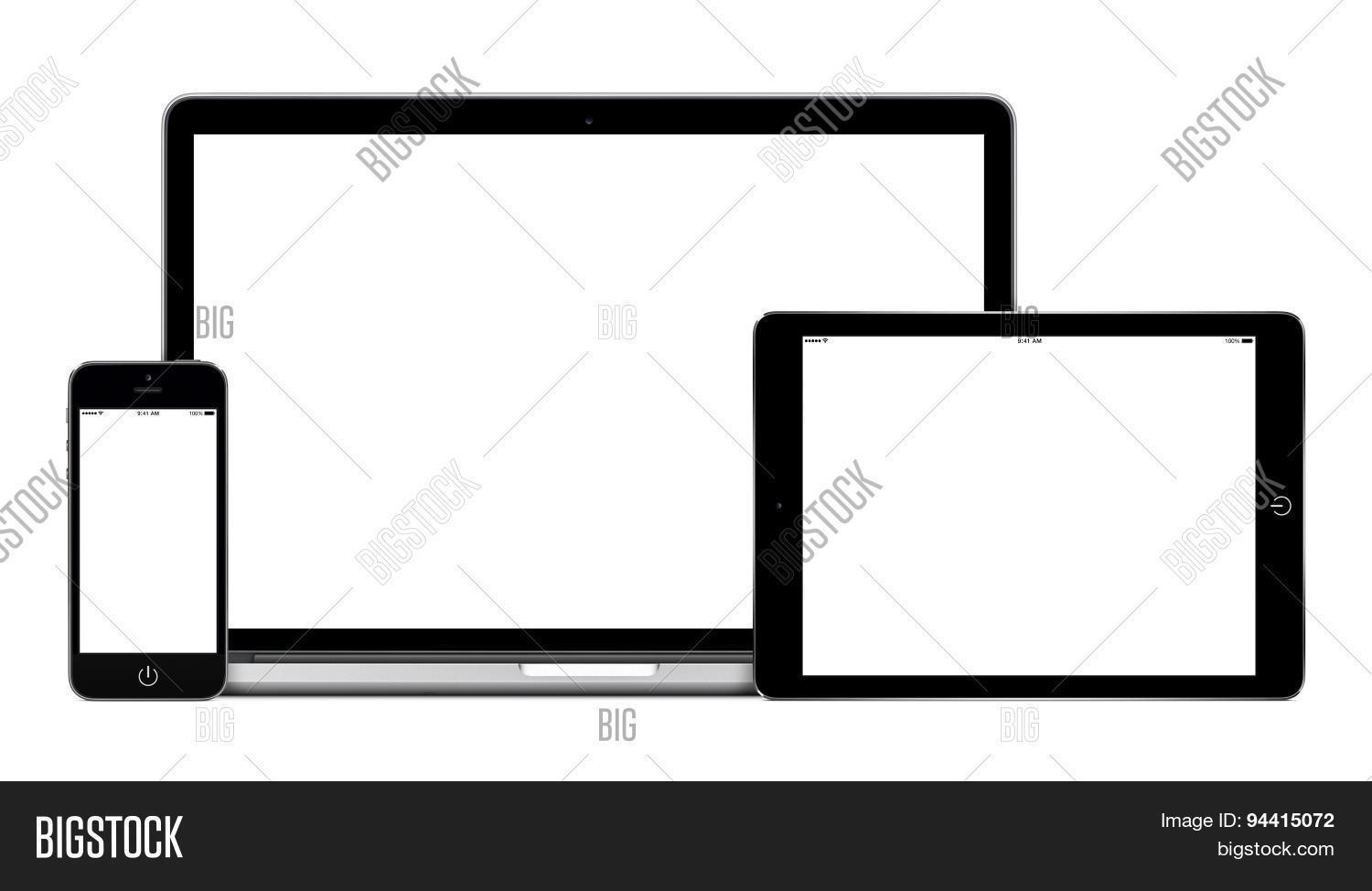 Laptop Tablet Pc Computer And Mobile Smartphone With Blank Screen ...