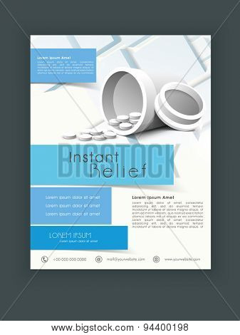 Stylish flyer, template or banner design with medicines for Health and Medical concept.
