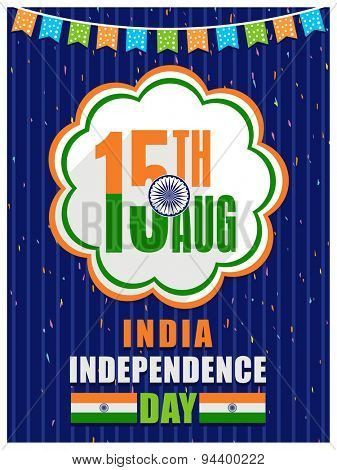 Greeting card design with national flag colors text 15th Aug in stylish frame for Indian Independence Day celebration.