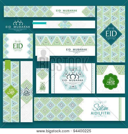 Beautiful floral design decorated social media post and header set with Arabic calligraphy of text Eid Mubarak and Ramadan Kareem for Muslim community festival celebration.