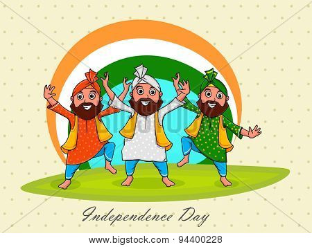 Young punjabi men performing bhangra on national flag colors background for Indian Independence Day celebration.