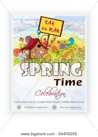Spring Time template, banner or flyer design decorated with colorful flowers and small hut on nature background.