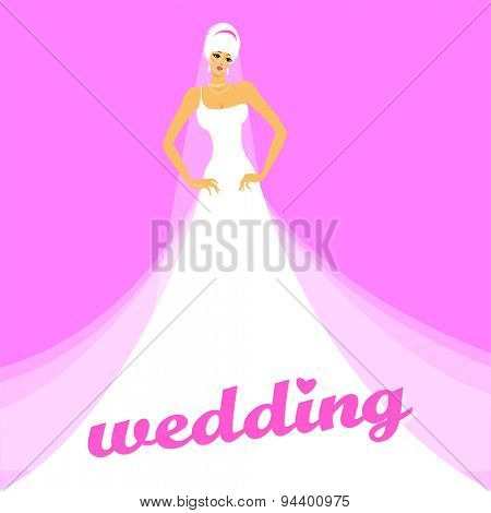 Wedding. The bride in a white dress . Concept design for advertising bridal salon , shop , invitations to the wedding , etc.