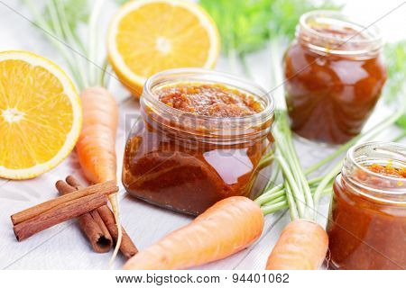 homemade carrot and orange jam - food in jars