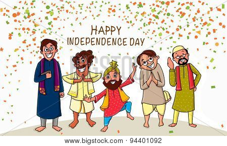 Illustration of different religion men showing unity in diversity on occasion of Indian Independence Day celebration.