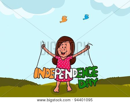 Cute little girl holding stylish tricolor text Independence Day on nature background for Indian national festival celebration.