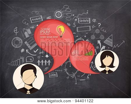 Various infographic elements with illustration of business people on chalkboard background.