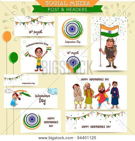 Social media ads, header or banner set with happy people, kids, soldier and other elements for Indian Independence Day celebration.