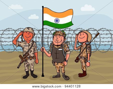 Young happy soldiers saluting to national flag on border for Indian Independence Day celebration.