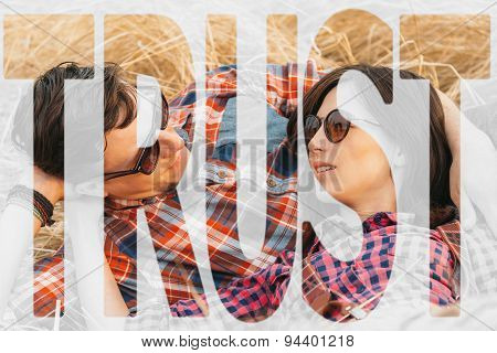 Double Exposure Trust With Image Of Loving Couple