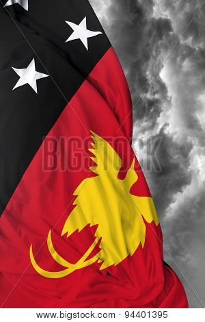 Papua New Guinea waving flag on a bad day