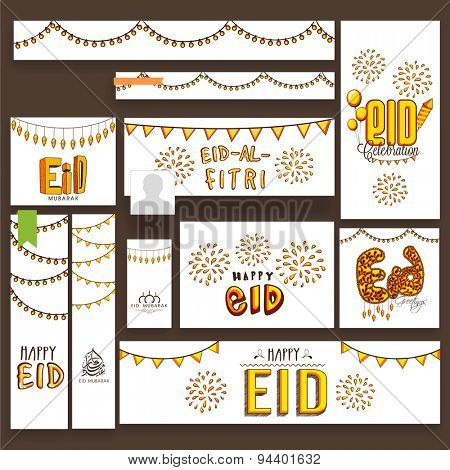 Beautiful fireworks and lights decorated social media post, header or banner set for famous festival of Muslim community, Eid Mubarak celebration.