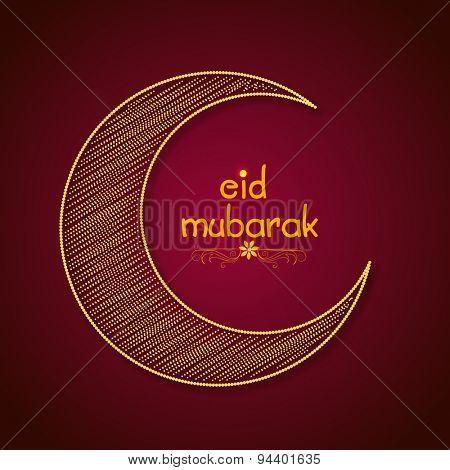 Beautiful creative crescent moon for famous festival of Muslim community, Eid Mubarak celebration.