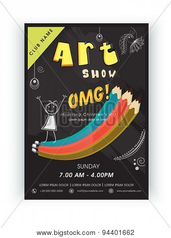 Stylish Art Show template, banner or flyer design decorated with colorful pencils and other elements.