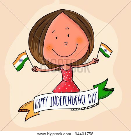Cute little girl holding flag in both hands with national tricolor ribbon for Indian Independence Day celebration.