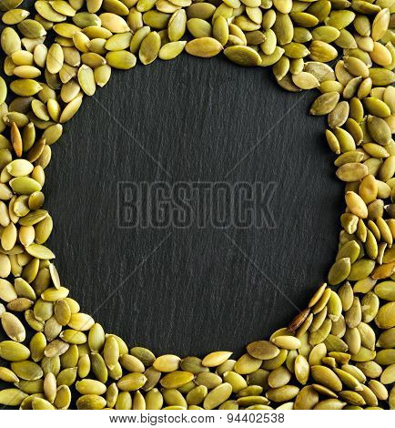 Copyspace Background With The Borders Made From Pumpkin Seeds