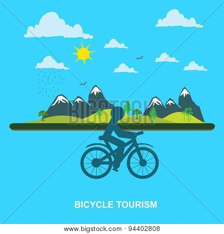 mountain, Bicycle, tourism, flat style for web, vector