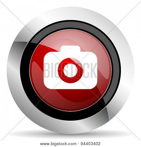 photo camera red glossy web icon original modern metallic and chrome design for web and mobile app on white background