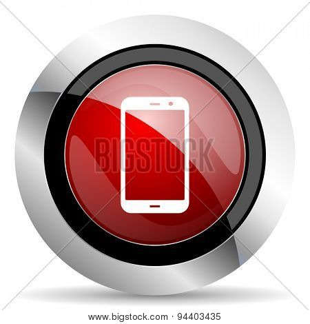 smartphone red glossy web icon original modern metallic and chrome design for web and mobile app on white background