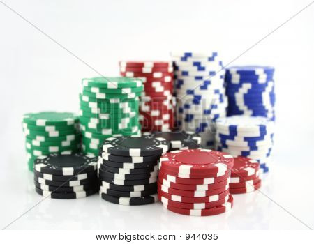 Casino Chips Focus On Front Stack