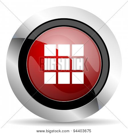 thumbnails grid red glossy web icon original modern metallic and chrome design for web and mobile app on white background