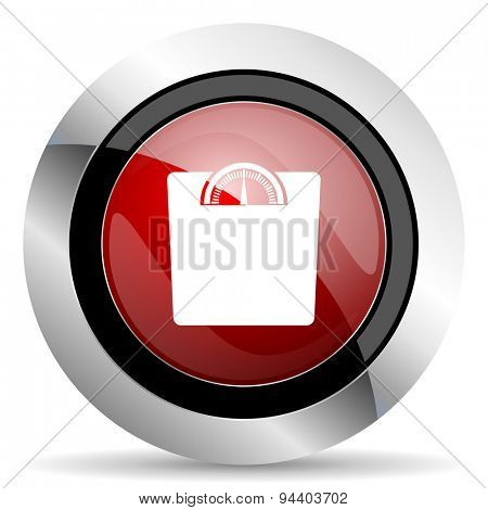 weight red glossy web icon original modern metallic and chrome design for web and mobile app on white background