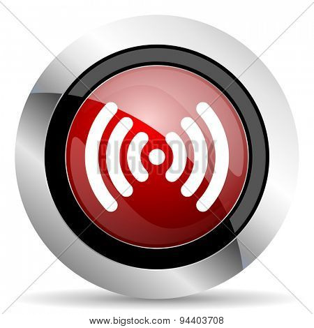 wifi red glossy web icon original modern metallic and chrome design for web and mobile app on white background