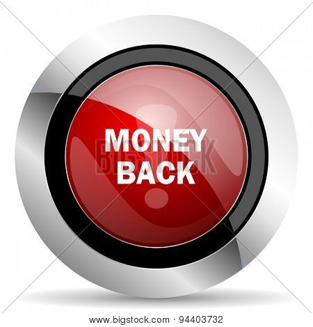 money back red glossy web icon original modern metallic and chrome design for web and mobile app on white background