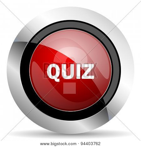 quiz red glossy web icon original modern metallic and chrome design for web and mobile app on white background