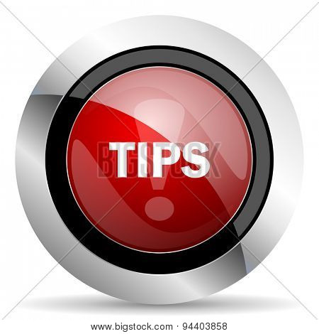 tips red glossy web icon original modern metallic and chrome design for web and mobile app on white background