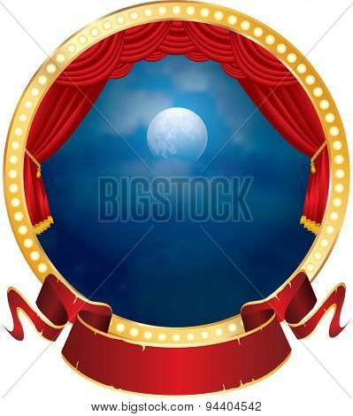 vector abstract illustration of circle stage with red curtain, blank banner and moon