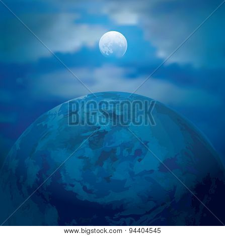 vector abstract illustration with full Moon and Earth