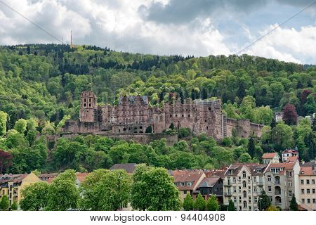 Heidelberg Castle in Lush Green Forested Hills Overlooking Quaint Town of Heidelberg, Baden-Wurttemberg, Germany