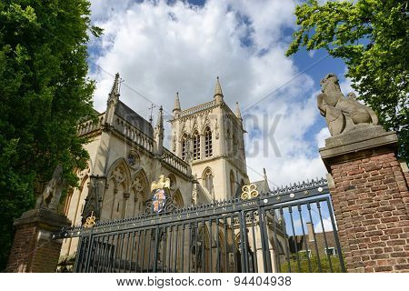 Low Angle View of St Johns College Chapel Tower as seen from Outside Fence, University of Cambridge, England