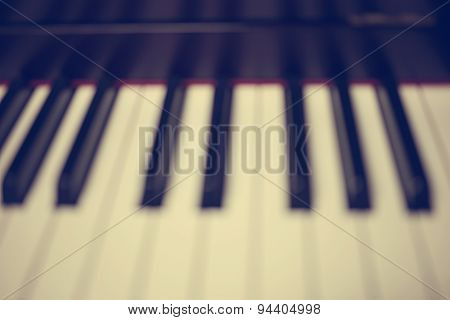 Blurred Image ; Close-up Of Piano Keys. Close Frontal View : Vintage Filter