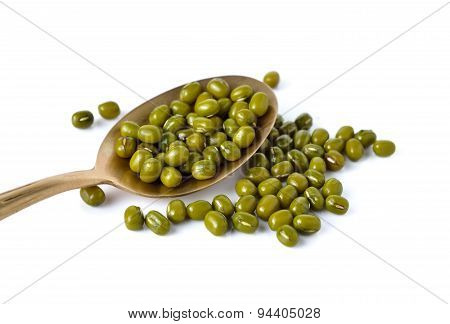 Mung Beans In Brass Spoon On White Background